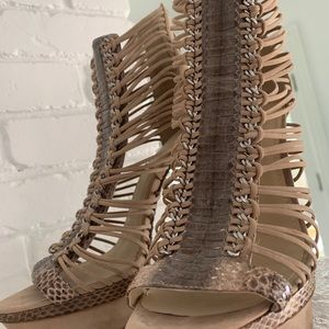 8492d7dd7bd7 Brian Atwood Snakeskin Trimmed Caged Sandals